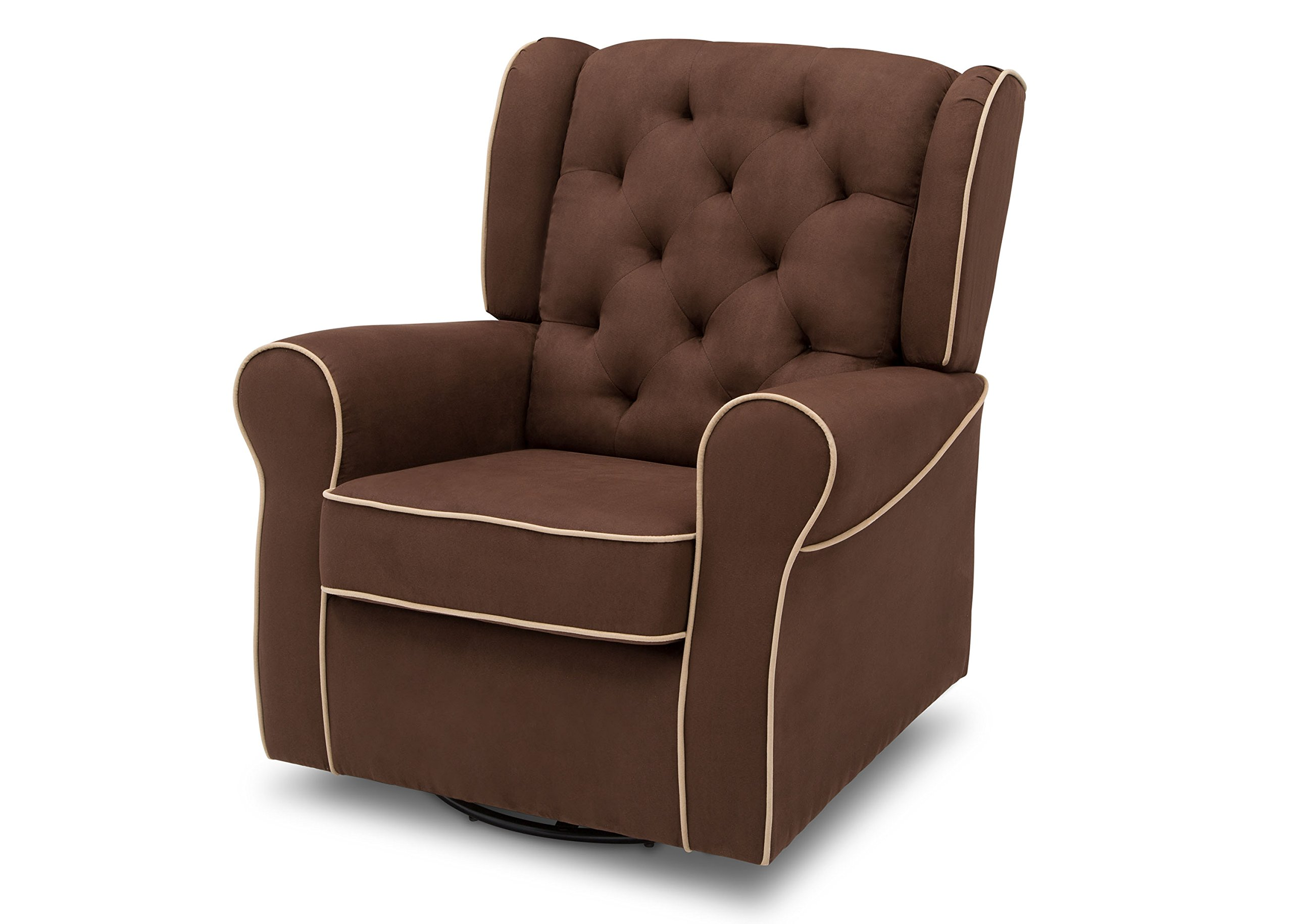 Delta Furniture Emerson Upholstered Glider Swivel Rocker Chair, Cocoa with Beige Welt
