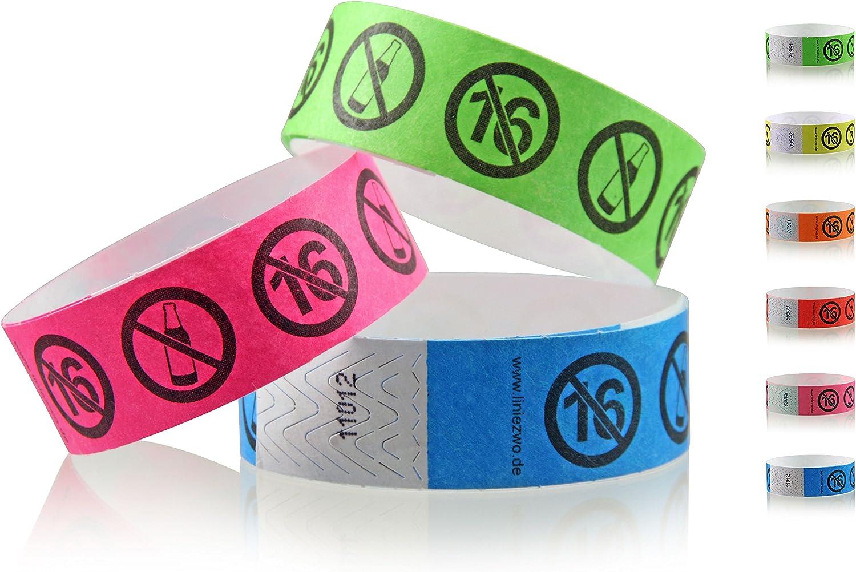 linie zwo/® Azzurro Neon Confezione da 100 Braccialetti di identificazione Tyvek/® 19 mm