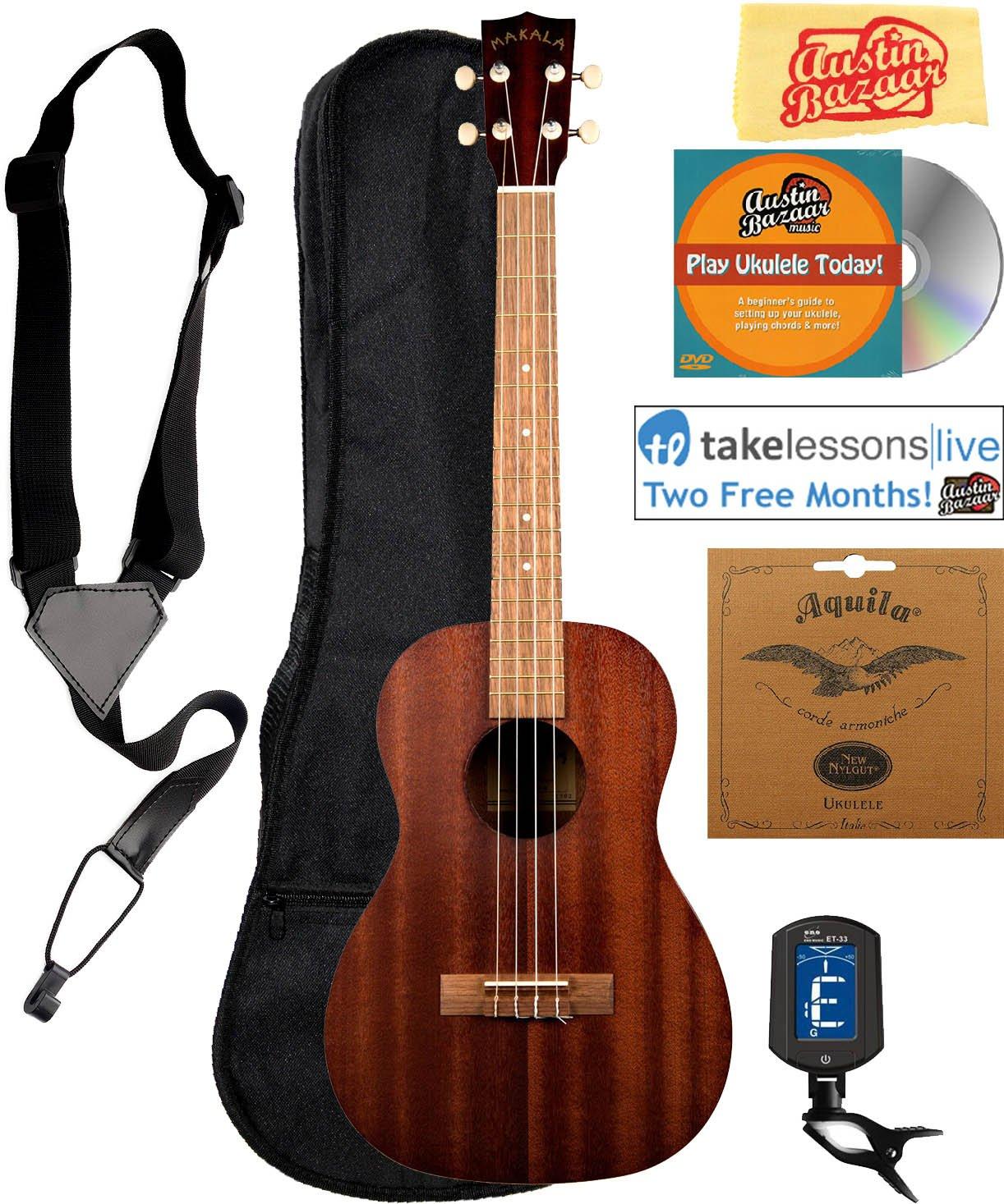 Kala MK-B Makala Baritone Ukulele Bundle with Gig Bag, Tuner, Strap, Aquila Strings, Online Lessons, Austin Bazaar Instructional DVD, and Polishing Cloth