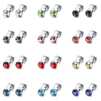 ffe8753b6 ORAZIO 12 Pairs Stainless Steel CZ Stud Earrings for Women Girls Cubic  Zirconia Cartilage Stud Earring