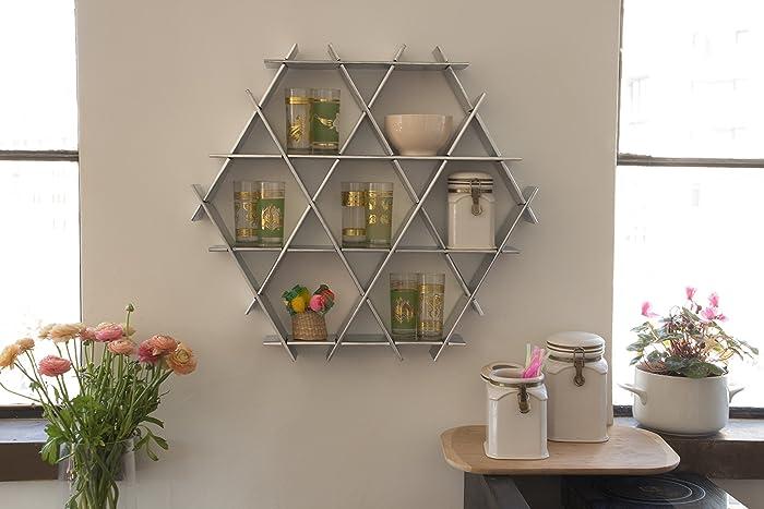 Kitchen Floating Shelves, Hexagon Wall Shelf, Coffee Mug Rack, Display  Shelving Unit