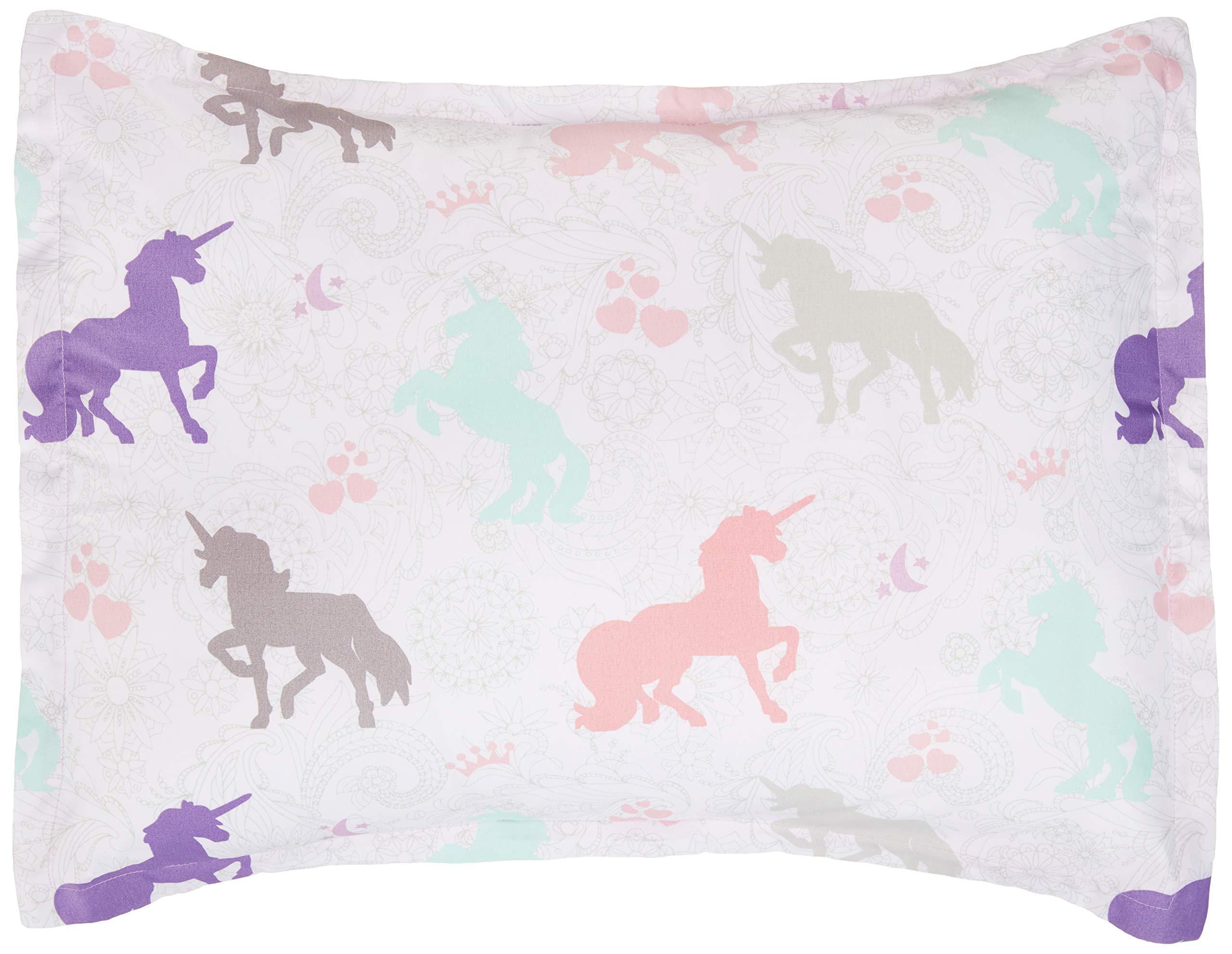 AmazonBasics Kid's Comforter Set - Soft, Easy-Wash Microfiber - Twin, Purple Unicorns by AmazonBasics (Image #4)