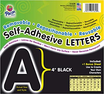 Pacon Pac51620 Self Adhesive Letters Removable Repositionable Reusable 4 Black 78 Pieces Office Products