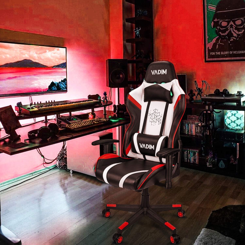 VADIM Gaming Stuhl Racing B/ürostuhl,150kg Belastbarkeit Kopfkissen und R/ückenpolster im Stylischen Ergonomischen Design Rot mit Fu/ßst/ütze Perfekt f/ür Streamer und Hobbygamer White