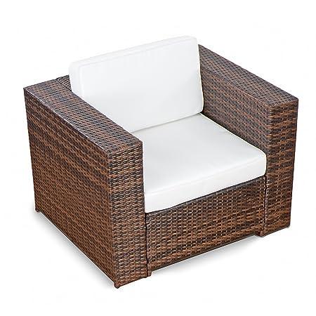 Amazon De 1er Polyrattan Lounge Mobel Sessel Braun Gartenmobel