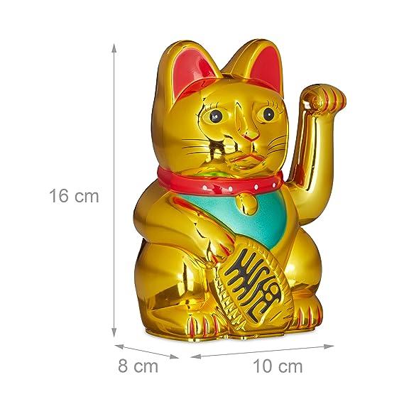 Relaxdays 10020579 Maneki Neko Gato Chino de la Suerte a Pilas, Plástico, Dorado, 16 cm