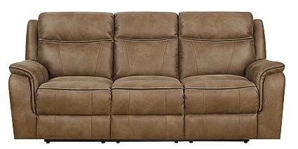 MStar Cameron 3 Seat Lay Flat Dual Reclining Sofa With Memory Foam Seat  Topper