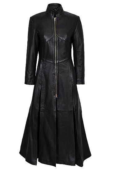 modern and elegant in fashion best loved skate shoes Ladies New Matrix Black Soft Leather Full-Length Long Gothic Coat Rock  Jacket