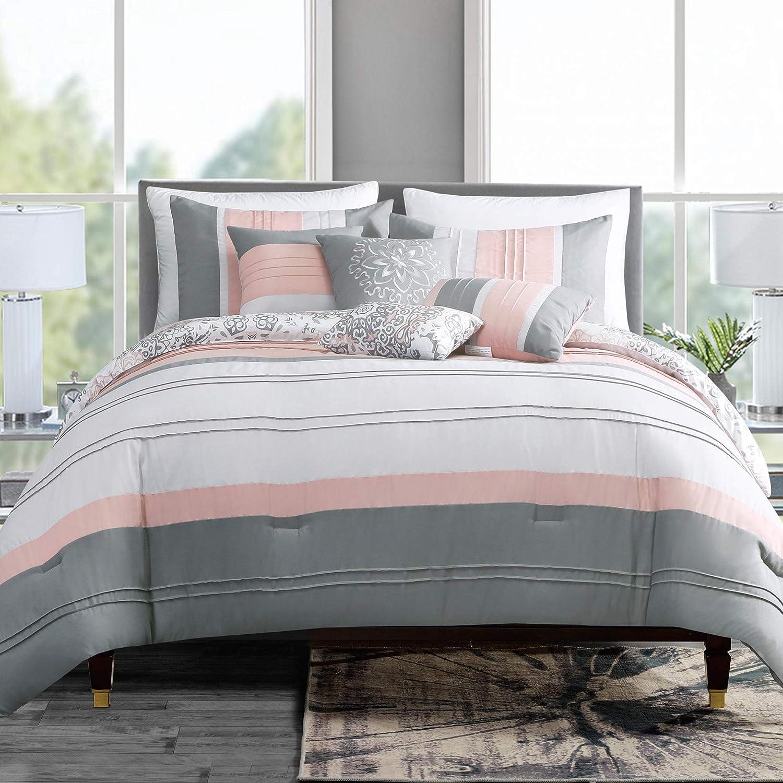 Amazon Com Grandlinen 7 Piece Coral Pink Grey White Abstract