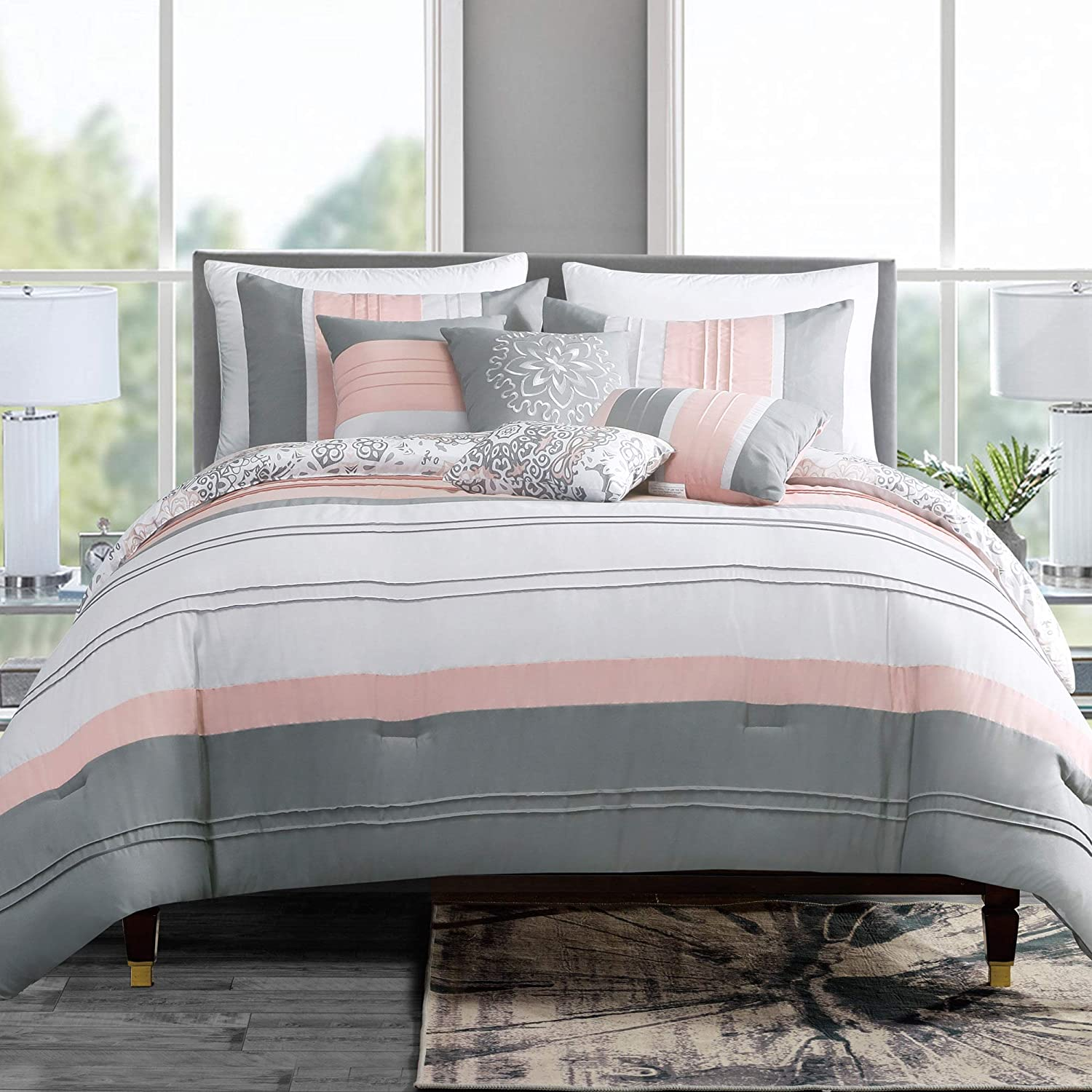 GrandLinen 7 Piece Coral Pink/Grey/White Abstract Design, Pleated Bed in a  Bag, Comforter Set King Size Bedding