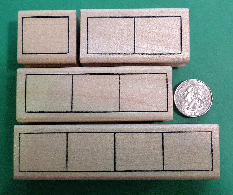 Elkonin Syllabic Frame Stamps, Set of 4