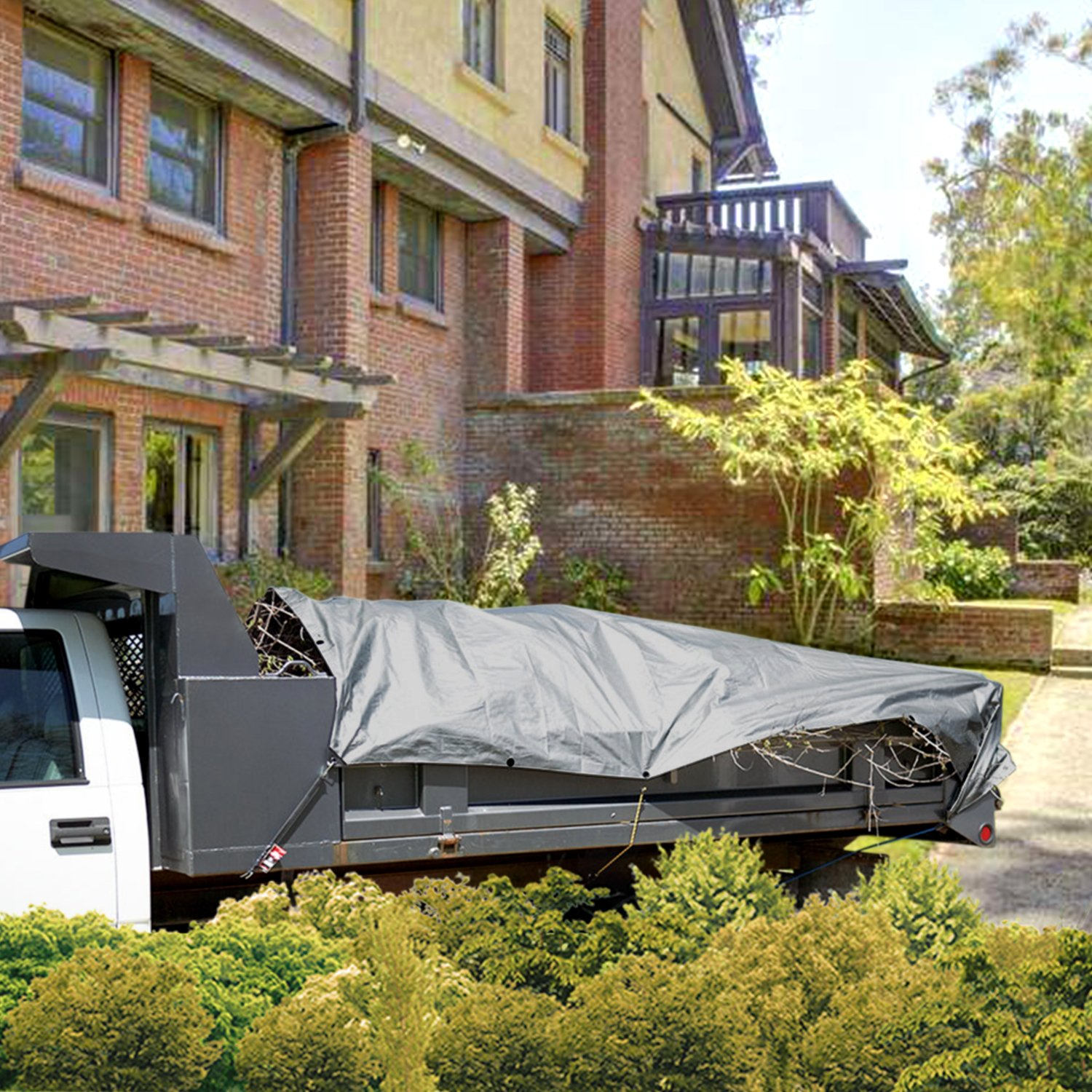 Coarbor 20/'x40/' Waterproof Tarp Poly Heavy Duty 10 Mil Multi-Purpose Protect Outdoor Property Furniture Grill Wood Pie Trunk Cover Silver