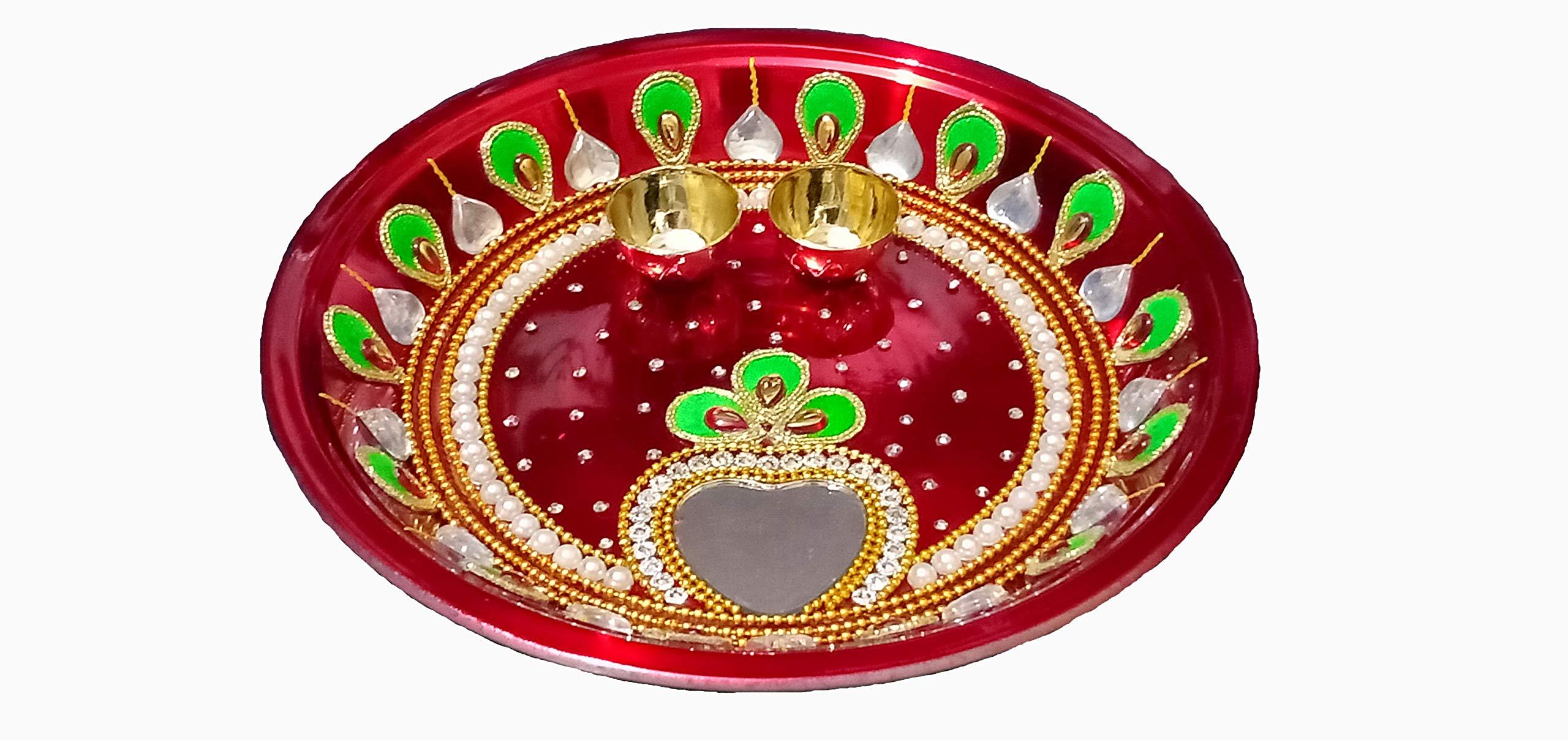 GD Stainless Steel Pooja Thali Set,Puja Plate,Puja thali Decorative,Traditional Steel Decorative Pooja thali Beautiful,Festive Ethnic,haldi kumkum Holder,Navratri,Diwali,Home,Temple,Office Red Color