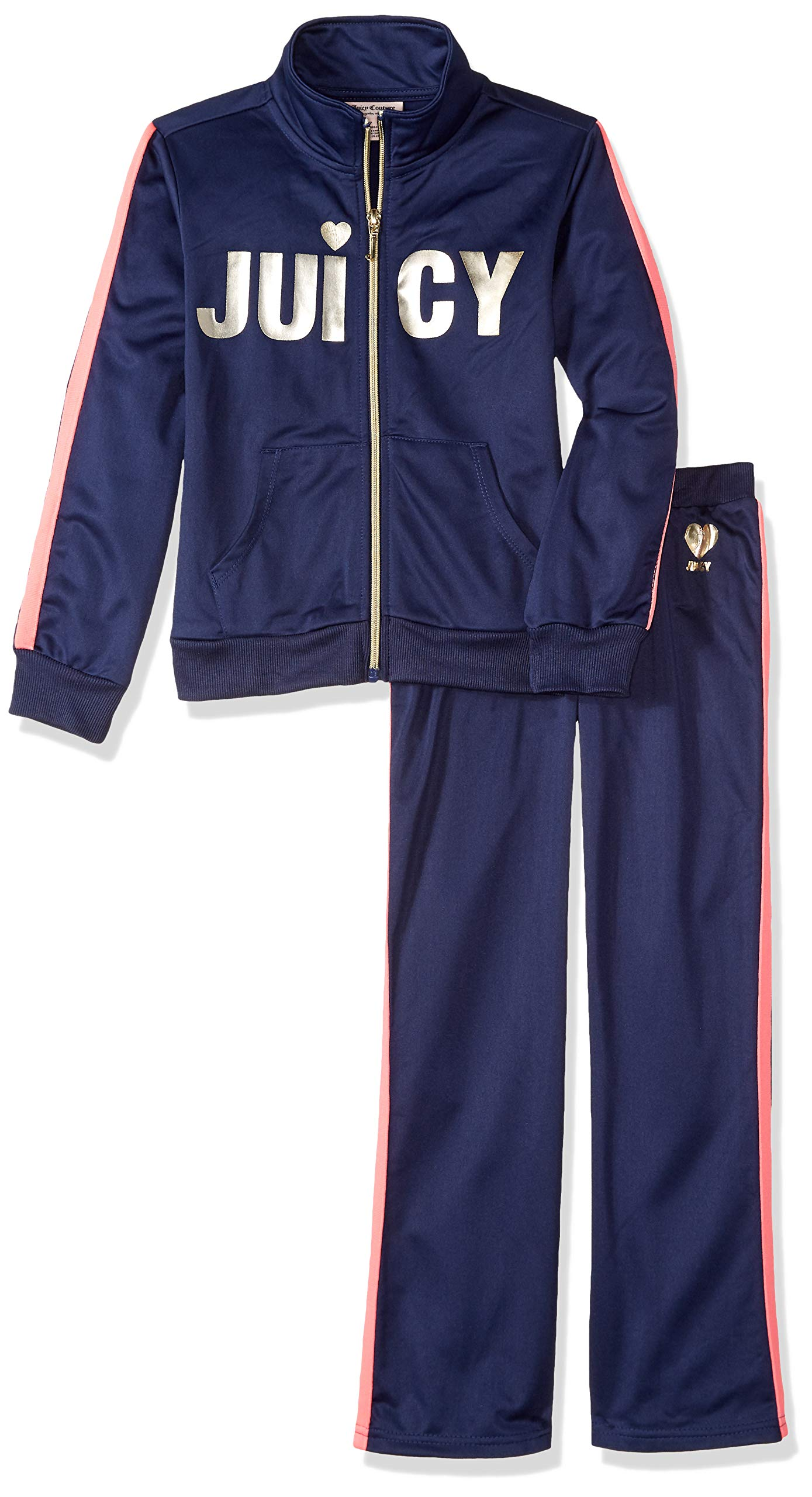 Juicy Couture Girls' Big 2 Pieces Track Pants Set, Navy 12