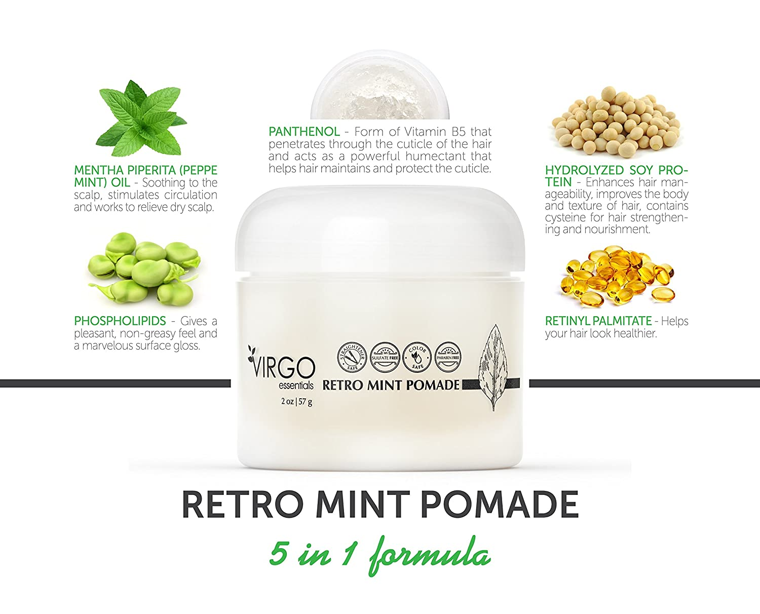 Amazon Retro Mint Pomade Styling Clay Hair Care Aid Infused W