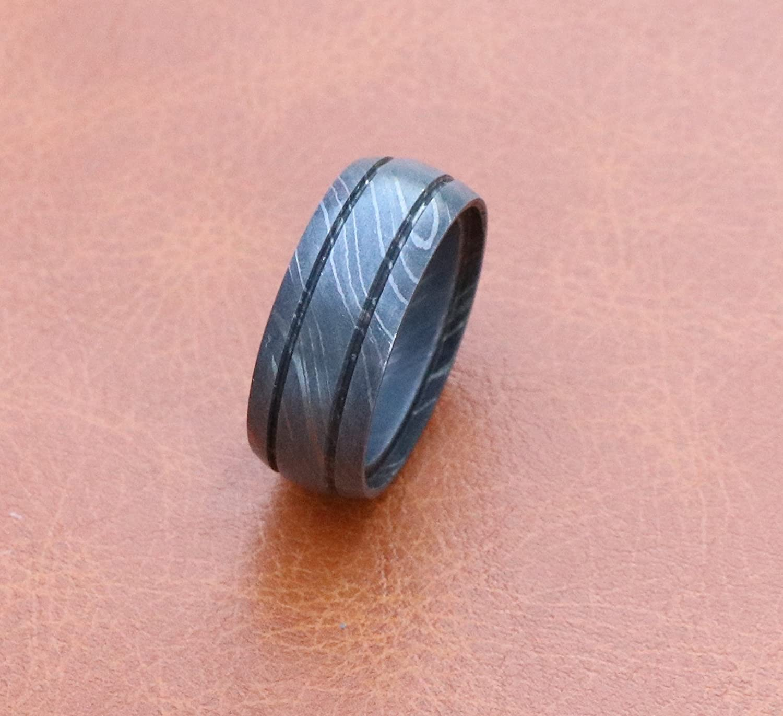 Men Damascus steel wedding ring dome line inlay design (10) | Amazon.com