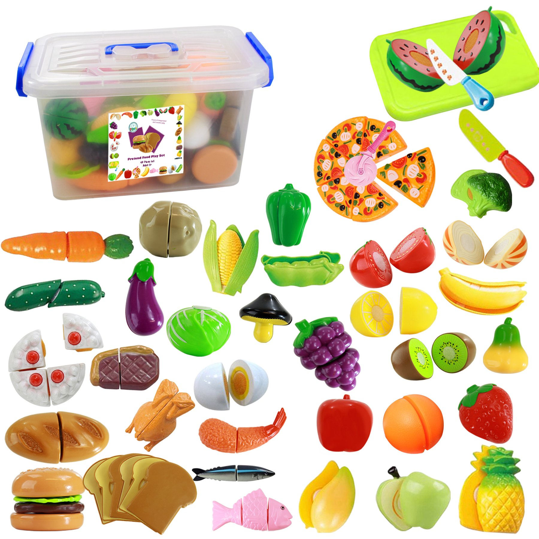 IQ Toys 40 Piece Complete Pretend Cutting Food Playset for Kids, Variety of 36 Food and 4 Cutting Accessories, Includes A Storage Container by IQ Toys