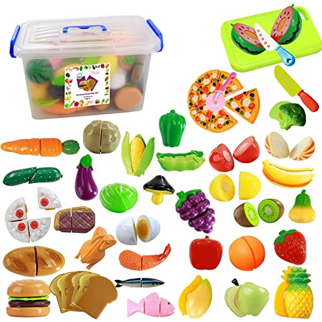 384759c34dee5 Amazon.com  IQ Toys 40 Piece Complete Pretend Cutting Food Playset for  Kids