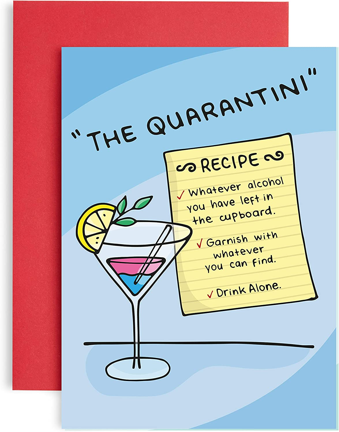 Funny Quarantini Birthday Card For Her Great Alcohol Cocktail Recipe Card For Gin Prosecco Or Any Alcohol Witty Banter Humour Fun And Jokes Amazon Co Uk Office Products
