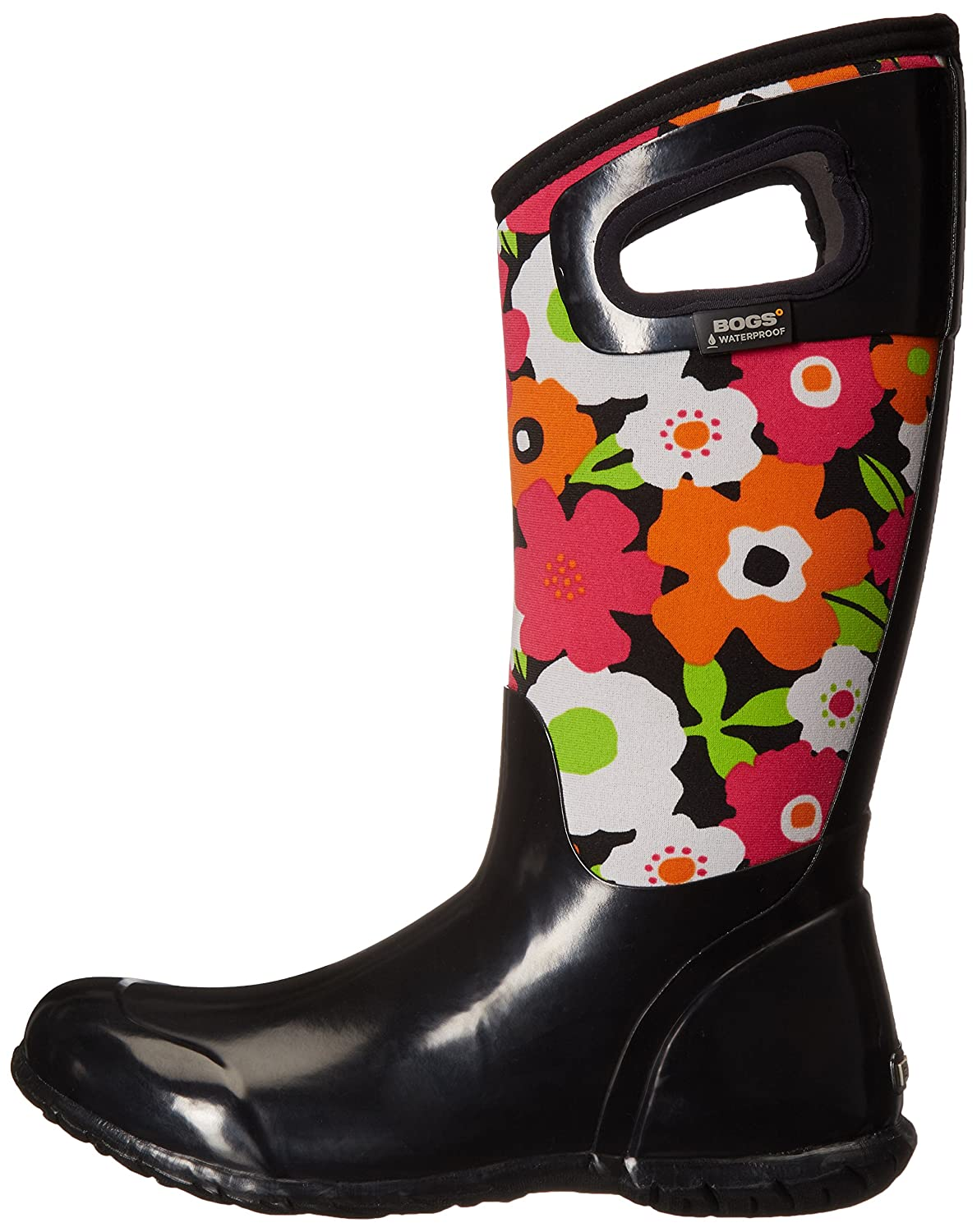 Bogs Women's North Hampton Spring Flowers Waterproof Insulated Boot B00TDJP8O2 6 B(M) US|Black/Multi