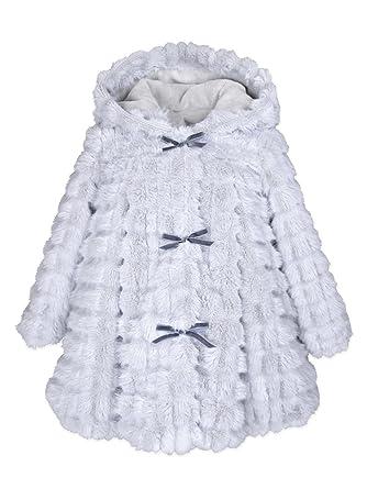 b53d83939de2 Amazon.com  Widgeon Girls  Hooded 3-Bow Faux Fur A-line Coat 3704 ...
