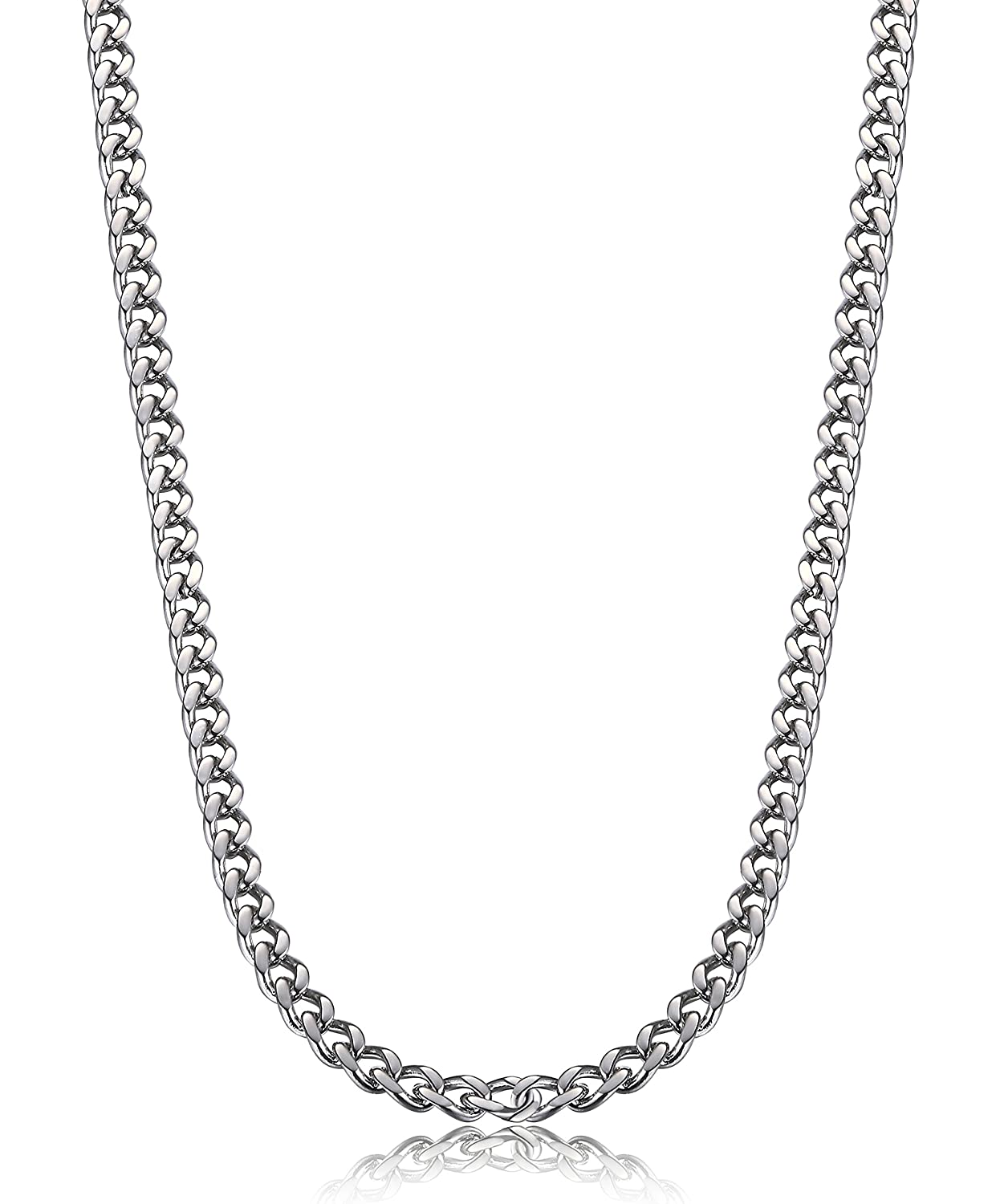 FIBO STEEL 3.5-6 mm Stainless Steel Mens Womens Necklace Curb Link Chain, 16-30 inches