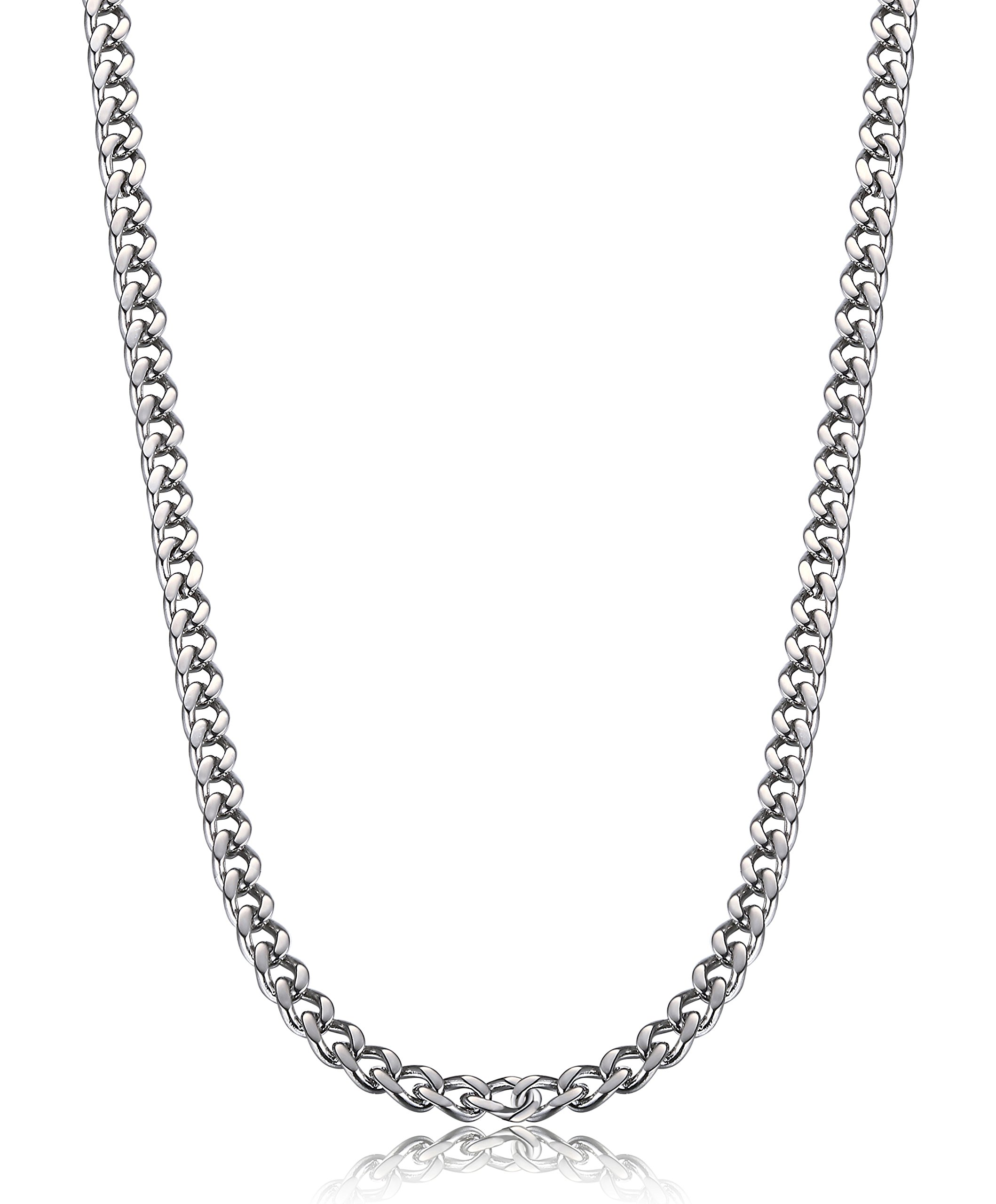 FIBO STEEL 3.5-6 mm Stainless Steel Mens Womens Necklace Curb Link Chain, 24 inches