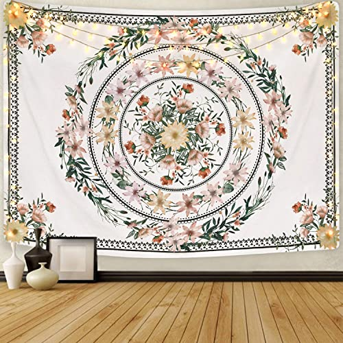 Mandala Tapestry Floral Medallion Tapestry Sketched Flower Plant Tapestry Bohemian Hippie Tapestry for Room 70.9 x 92.5 inches