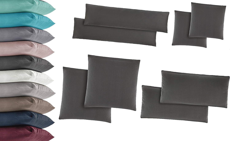 40 x 145 cm Basatex Lot de 2 taies doreiller en Jersey 100/% Coton Plusieurs Tailles et Couleurs Coton p/étrole