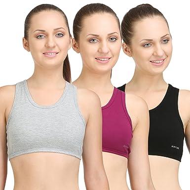 e7092178ea8fe BODYCARE Pack of 3 Sports Bra in Grey-Black-Wine Color - E1610GRYBWI   Amazon.in  Clothing   Accessories