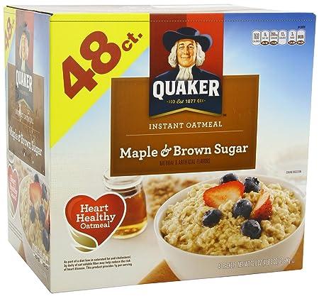 Amazon.com: Quaker Instant Oats, Maple Brown Sugar, 48-Count: Oatmeal Breakfast Cereals