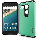 Nexus 5X Case, CoverON [Slim Guard Series] Slim Dual Layer Armor Hard Cover Thin TPU Phone Case for LG Google Nexus 5X - Teal & Black