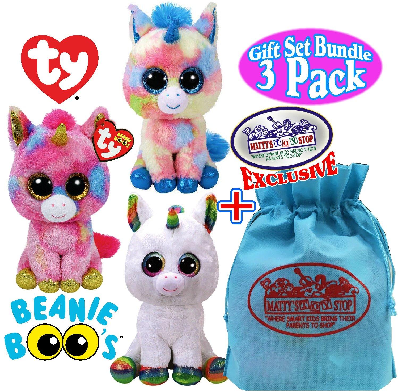 TY Beanie Boos ''Unicorns'' Blitz, Pixy & Fantasia Gift Set Bundle with Bonus ''Matty's Toy Stop'' Storage Bag - 3 Pack by Ty Beanie Boos