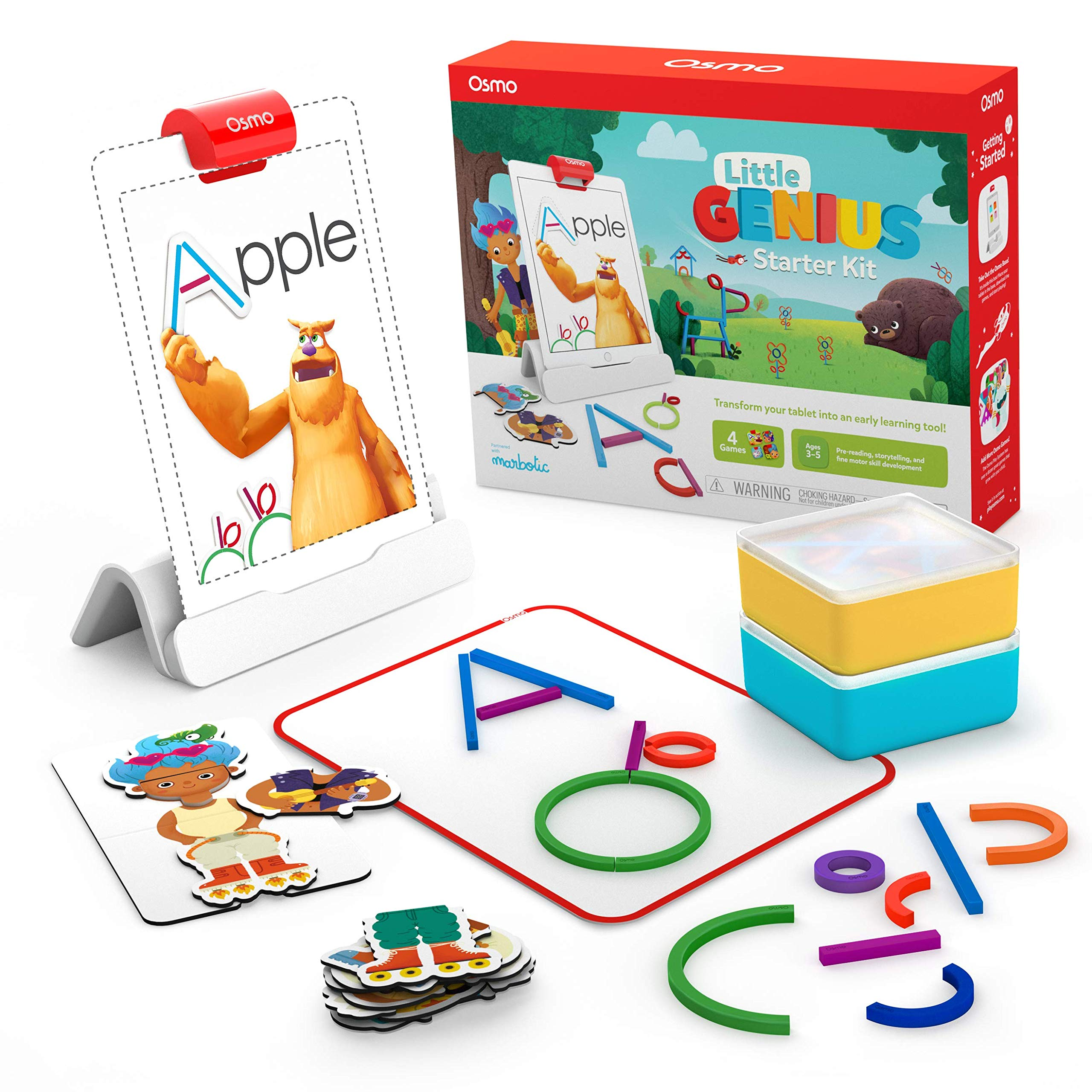 Osmo - Little Genius Starter Kit for iPad - 4 Hands-On Learning Games - Preschool Ages - Problem Solving, & Creativity iPad Base Included