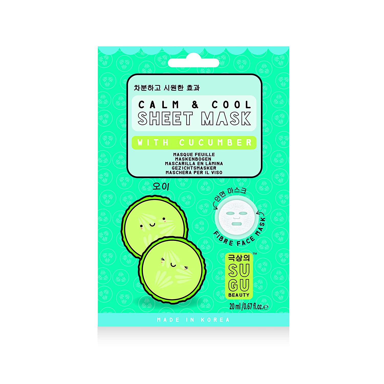 Amazon.com: SUGU Korean Calm & Cool Cucumber Face Sheet Masks, 12 ...