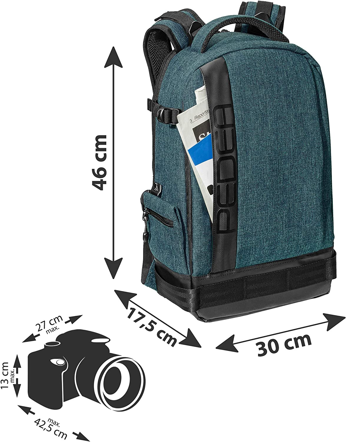 Sony Alpha 7 7M2 7M3 7R II DSC-RX10 PEDEA Fashion DSLR Camera Backpack with Screen Protector for Nikon D500 D750 D3500 D5200 D300 Coolpix B500 Canon EOS 77D 200D 1200D 1300D Petrol