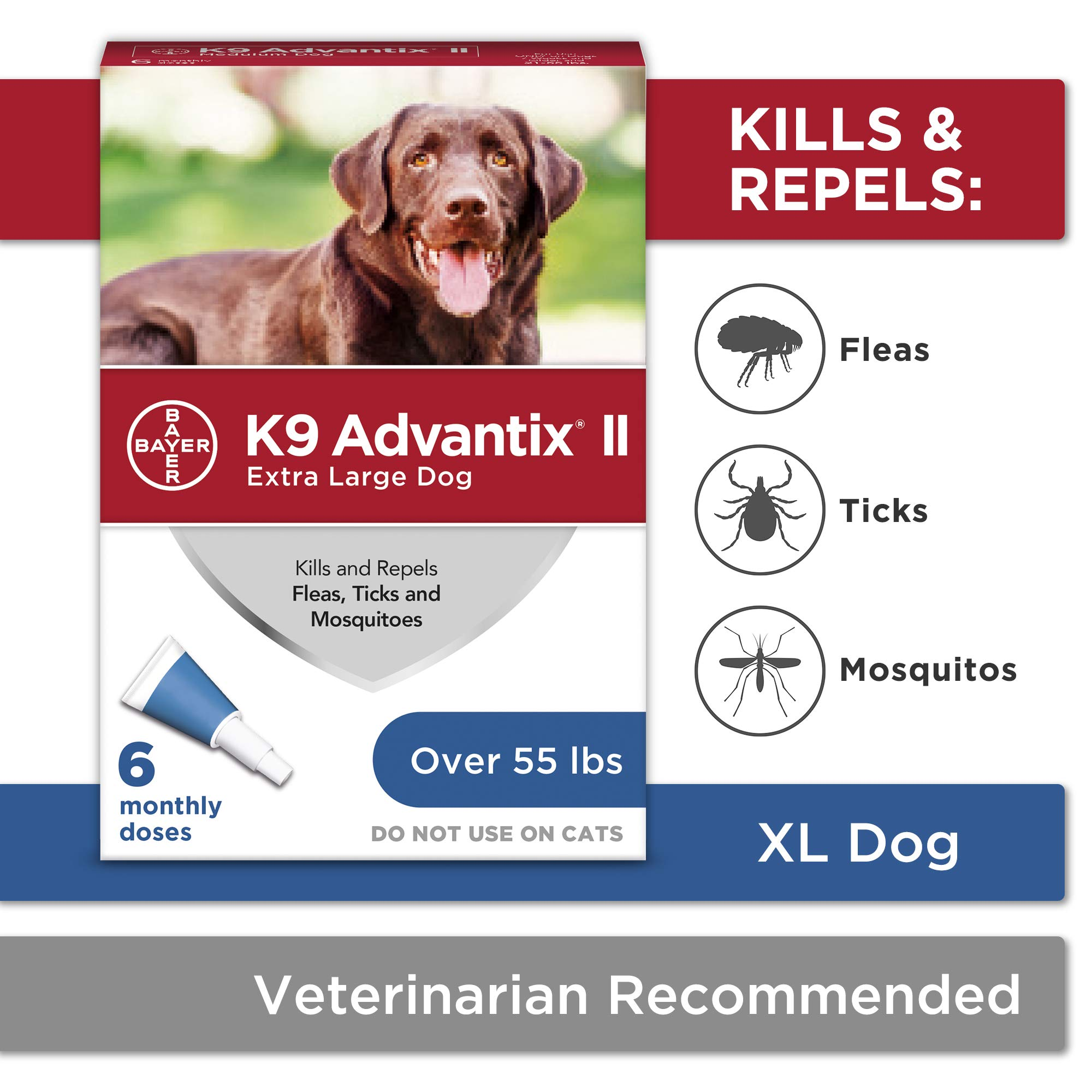 Flea and tick prevention for dogs, dog flea and tick treatment, 6 doses for dogs over 55 lbs, K9 Advantix II by Bayer Animal Health