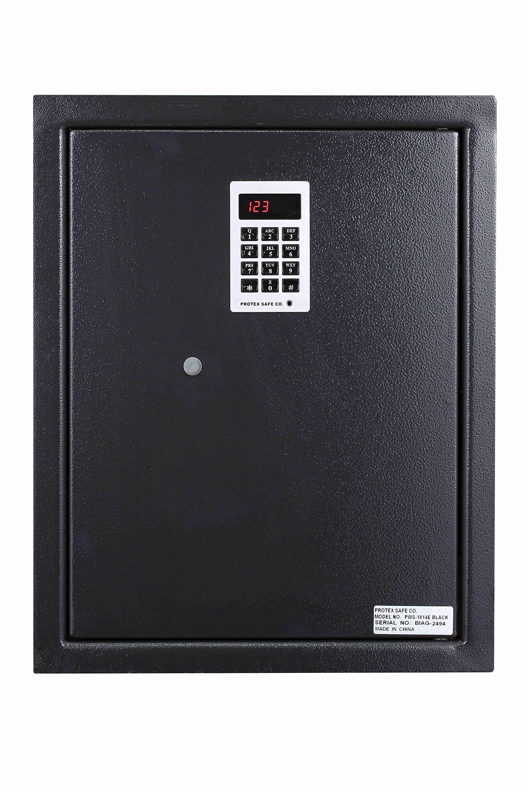 Protex PWS-1814E Electronic Keypad Wall Safe, 5.25'', Black by Protex
