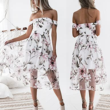 Boho Dress Women Off Shoulder Summer Dresses Floral Print Vintage Chiffon Dress Vestidos,White,