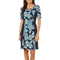 Deals on Sami & Jo Womens Paisley Puff Print Panel Dress