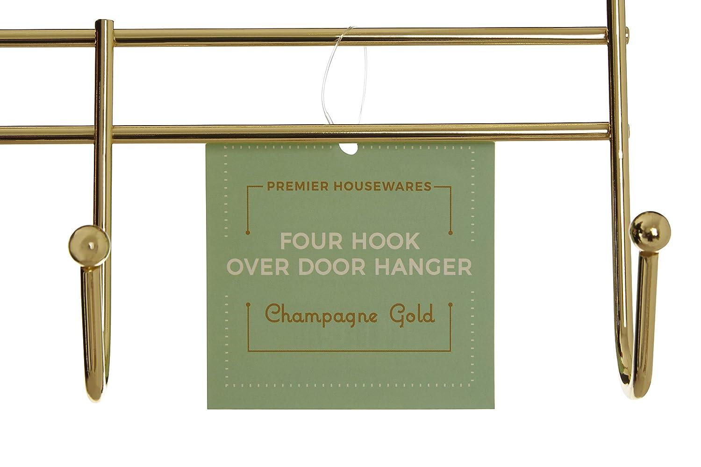 Premier Housewares 4/Ganci Appendiabiti da Porta 10 x 40 x 25 cm Gold
