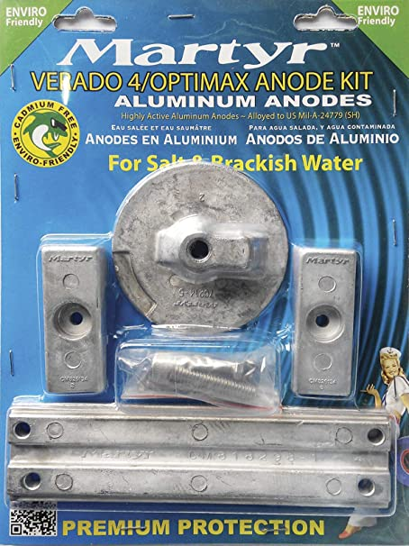 Zinc Anode Kit Mercury Verado V-4 Complete w// Hardware Mil-Spec USA