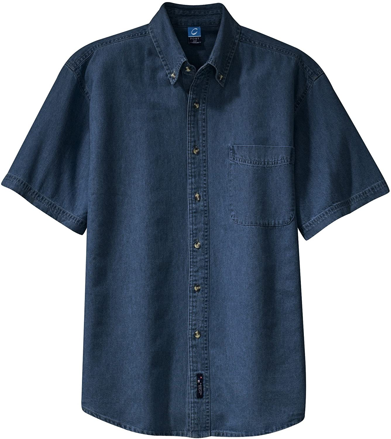 Port /& Company Mens Short Sleeve Value Denim Shirt
