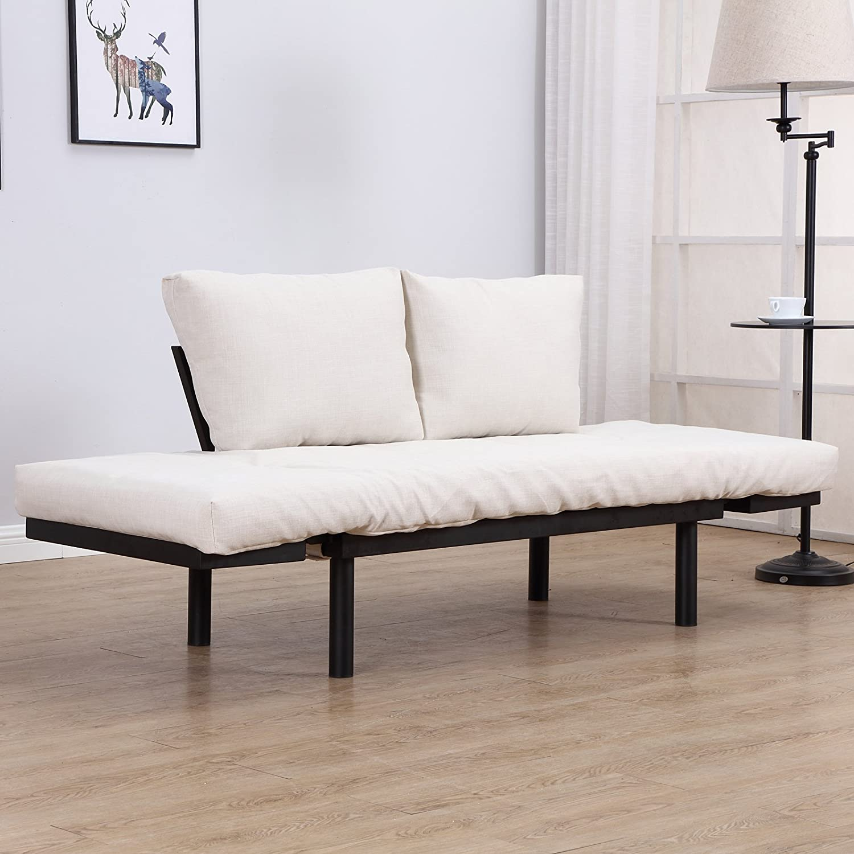 Black//Cream White HOMCOM Convertible 3-Position Futon Daybed Lounger Sofa Bed