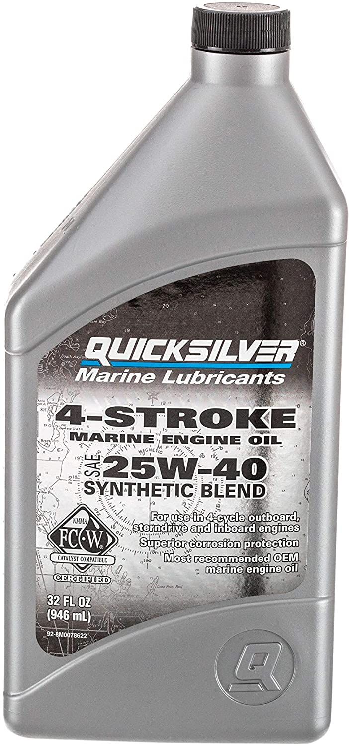 Quicksilver 8M0078622 4-Stroke Marine Engine Oil – for Outboard, Sterndrive & Inboard Engines – SAE 25W-40 Synthetic – 1 Quart
