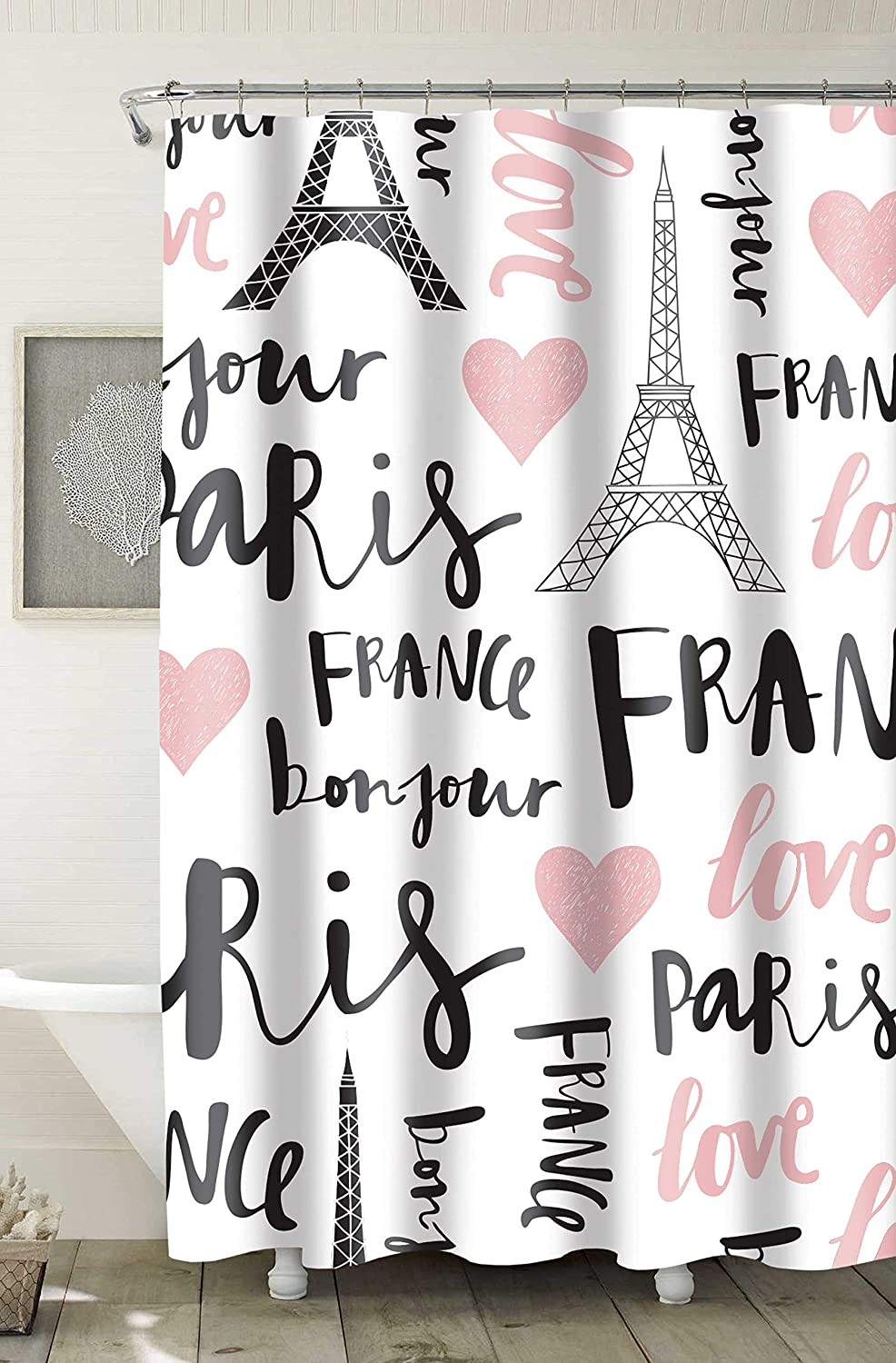 HOME EXPRESSIONS Decorative Paris Love Print PEVA Shower Curtain Liner Waterproof, Mold/Mildew Resistant, for Bathroom Showers, Stalls and Bathtubs (Printed Paris Love Design White/Black/Pink)