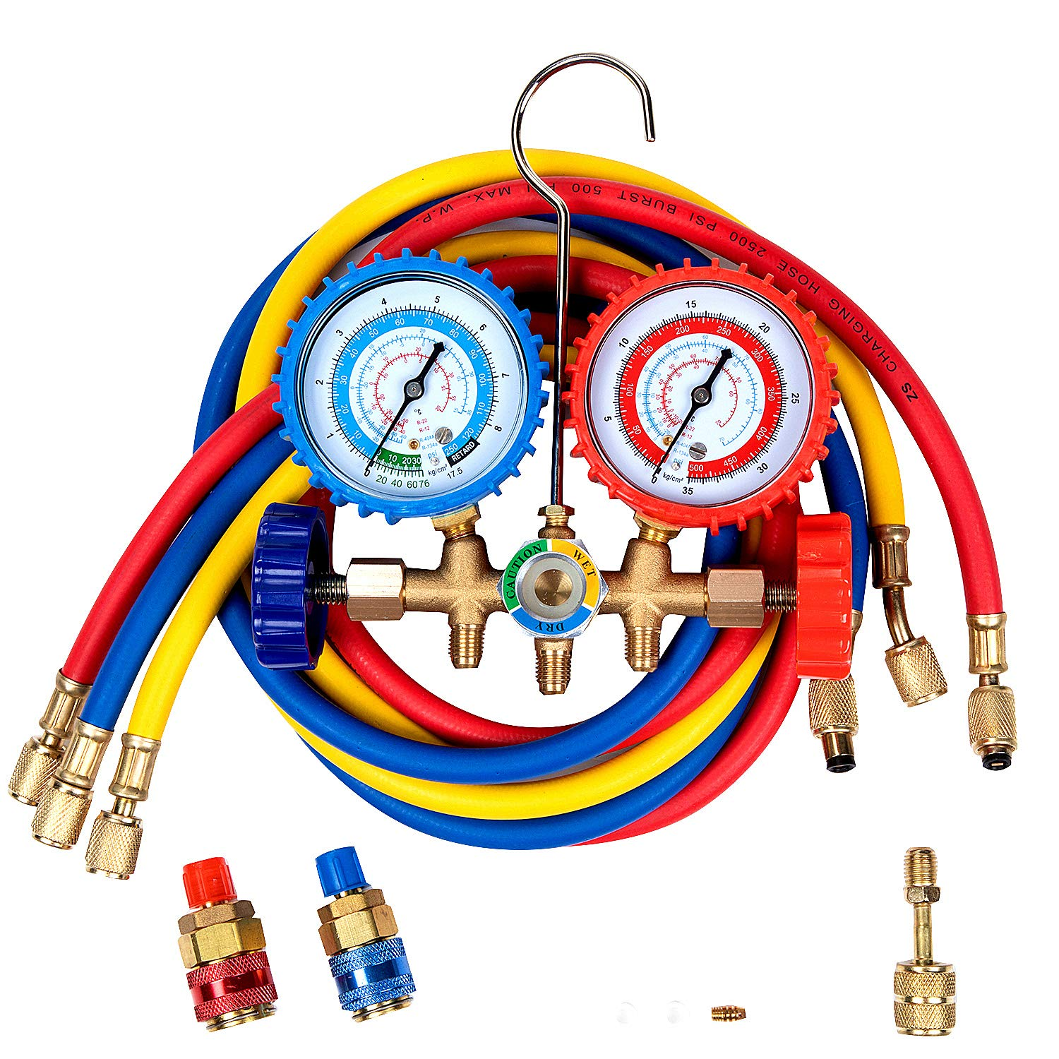 Detool 5ft Pro AC A/C Diagnostic Manifold Gauge Set Freon Gauge for R134A R12 R22 Refrigerants, with Couplers and Acme Adapter