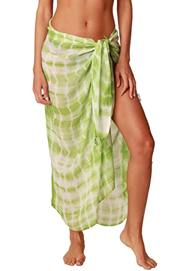 INGEAR Beach Long Batik Tie Dye Sarong Womens Swimsuit Wrap Cover Up Pareo with Coconut Shell Included