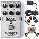 MXR M116 Fullbore Metal Distortion Pedal Bundle with Blucoil Power Supply Slim AC/DC Adapter for 9 Volt DC 670mA