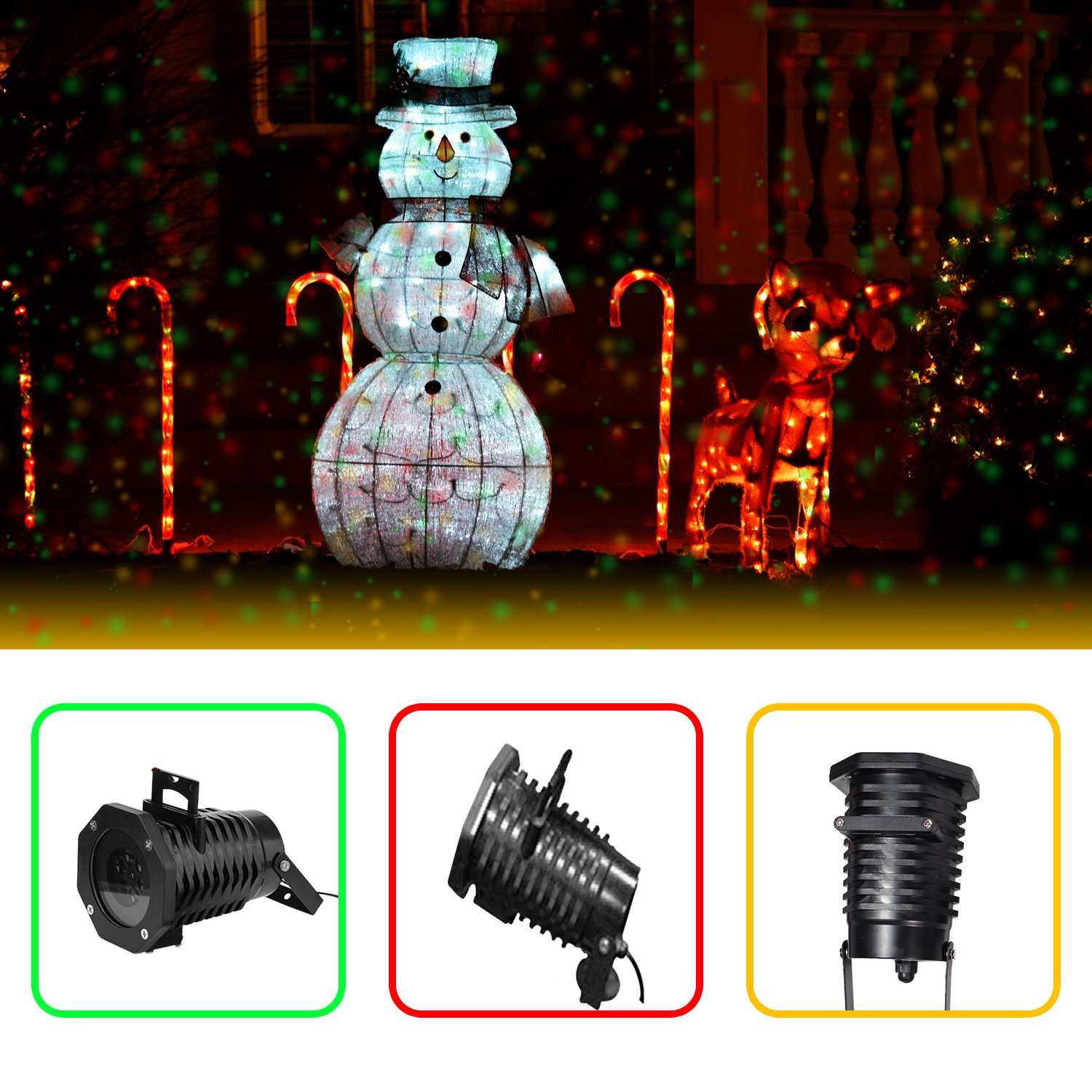 Christmas Lights Projector – Multicolor Rotating Led Christmas Shower lights, 10PCS Pattern Waterproof Lens Christmas Projector Lights Outdoor / Indoor for Celebration, Garden Decorations and more by Novapolt (Image #7)